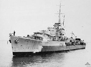 HMAS Nizam (G38) - Nizam in Port Phillip during late 1944, shortly before entering refit in Melbourne