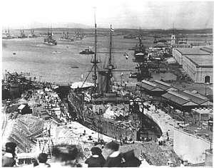 HMS King Edward VII - King Edward VII in dry dock.