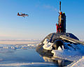 HMS Tireless is shown surfacing in the North Pole ice cap region. MOD 45147602.jpg