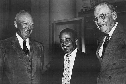 Suhrawardy (middle) with US President Dwight D. Eisenhower and Secretary of State John Foster Dulles HSS and Eisenhower.jpg
