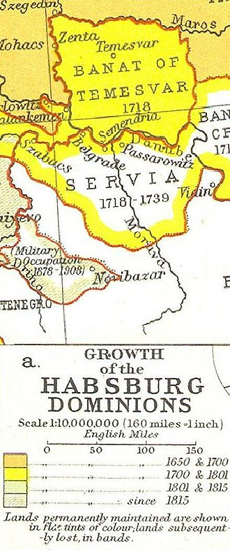 Kingdom of Serbia (1718–39) - Growth of the Habsburg Monarchy showing Serbia in 1718–39.