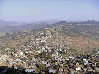 Hakha City in Chin State, Myanmar