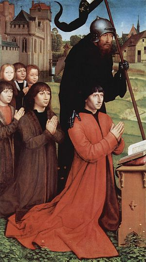 Moreel Triptych - Left panel, with Willem Moreel, sons, and Saint Wilhemus van Maleval