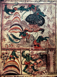 Hanuman encounters with surasa and simhika, hanuman being accousted by lank9ini.png