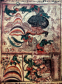 Hanuman encounters with surasa and simhika, hanuman being accousted by lank9ini.png