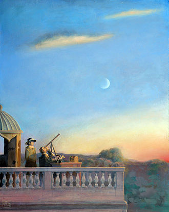 Thomas Harriot - Thomas Harriot observing the moon through his telescope at Syon Park