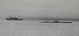 Heian Maru (1930) - Heian Maru with submarine I-171, Paramushiro, June 1943