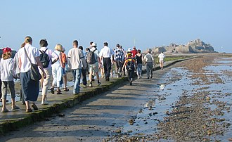 Helier - In 2005, the tides necessitated an early morning start to the pilgrimage.
