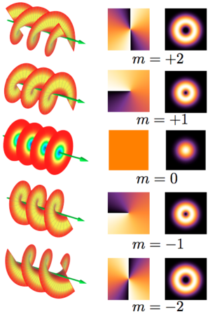 Orbital angular momentum of light - Different columns show the beam helical structures, phase fronts, and corresponding intensity distributions.