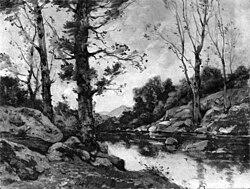 Henri Harpignies: View at Hérisson, Allier