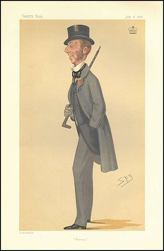 """Henry Sturt, 1st Baron Alington - """"Bunny"""". Caricature by Spy published in Vanity Fair in 1876."""