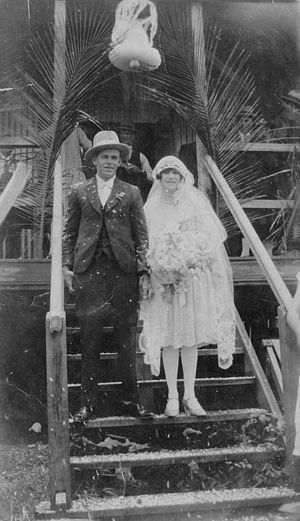 Bunny Adair - Bunny Adair and Gladys Down, Freshwater Hall near Cairns after their marriage, 1928