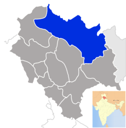 Location of Lahaul and Spiti district in Himachal Pradesh