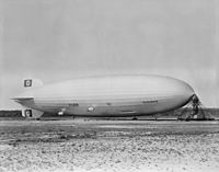 Hindenburg at Lakehurst Naval Air Station, 1936