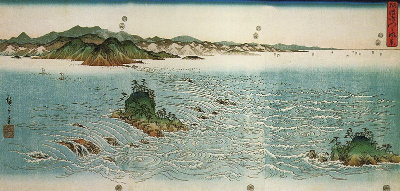 File:Hiroshige, Whirlpools on a rocky coast.jpg
