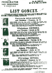 A 1933 warrant of arrest of Polish politicians.