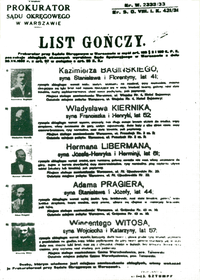 1933 warrant for arrest of Polish politicians