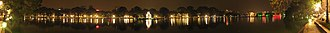Hoàn Kiếm Lake - A panoramic view of the Hoan Kiem Lake by night.