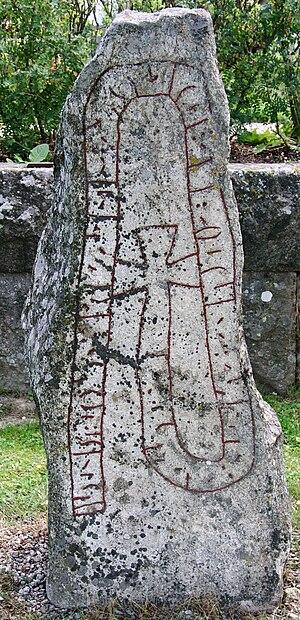 Staveless runes - Runestone Hs 12 in Hög has staveless runes.