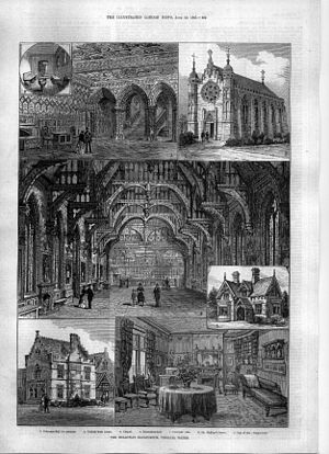Holloway Sanatorium - THE HOLLOWAY SANATORIUM, VIRGINIA WATER ... ... ... engravings from The Illustrated London News, June 20, 1885 1. Entrance-hall for patients. 2. Turkish-bath rooms. 3. Chapel. 4. Recreation-hall. 5. Patients' villa. 6. Dr. Phillips' house. 7. One of the sitting-rooms.