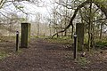 Horse trail markers and gate piers, Arrowe Country Park.jpg