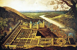 Siege of Heidelberg (1622) - Heidelberg Castle and the Hortus Palatinus commissioned by Frederick V, and designed by the English gardener Inigo Jones and the French engineer Salomon de Caus.
