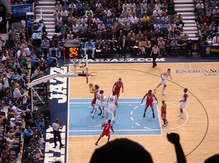 The Utah Jazz playing against the Houston Rockets Houston Rockets and Utah Jazz.jpg