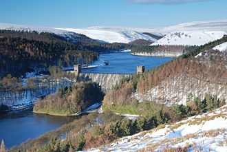 Howden Reservoir - Howden Dam from Abbey Bank (Dec 2010)