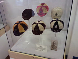 Hugh Adcock - Adcock's five England caps and one from an England trial match on display in his home town of Coalville in 2010
