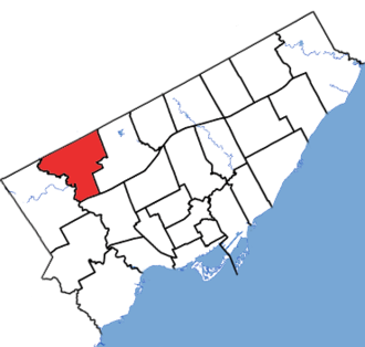 Humber River—Black Creek (provincial electoral district) - Humber River-Black Creek in relation to the other Toronto ridings