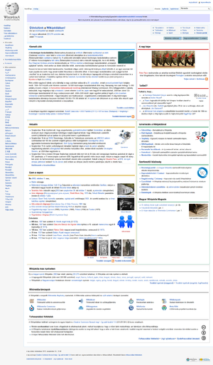 Hungarian Wikipedia - Image: Hungarian Wikipedia Mainpage Screenshot 1October 2012