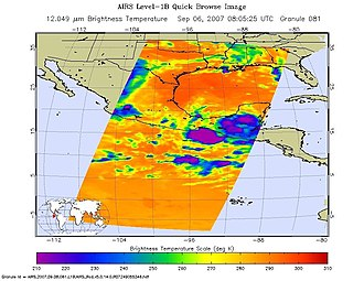 Atmospheric infrared sounder - This infrared image from AIRS shows the remnants of Hurricane Felix in September 2007.