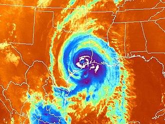 Effects of Hurricane Ike in Texas - Satellite image map of Hurricane Ike after landfall on the Texas Coast.