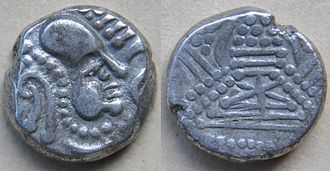 Saindhava - a bust turned right of Indo-Sassanian style with points.
