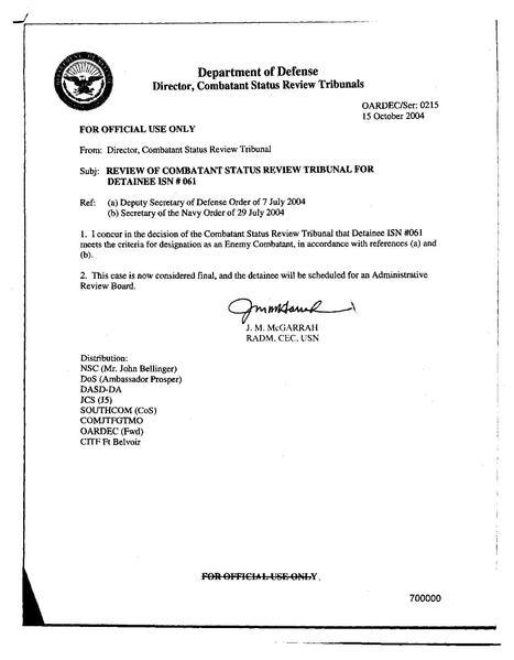File Isn 061 Unclassified Dossier From Murat Kurnaz S 2004