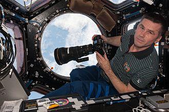 Yuri Malenchenko - Yuri Malenchenko in the Cupola module during Expedition 47.