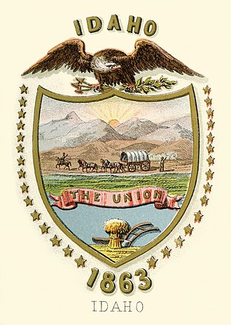 Flag and seal of Idaho - Image: Idaho territory coat of arms (illustrated, 1876)