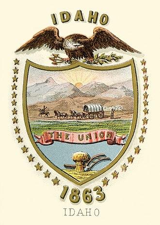 Flag and seal of Idaho - Image: Idaho territory coat of arms (illustrated, 1876)