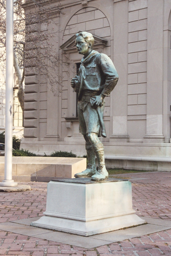 The R. Tait McKenzie sculpture Ideal Scout depicts a Scout in traditional uniform Ideal Scout.png