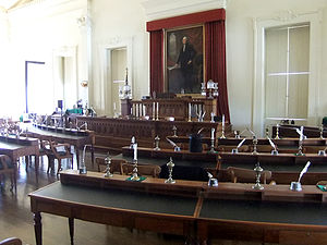 Old State Capitol State Historic Site - Illinois House of Representatives chamber on second floor.