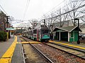 Inbound train at Chestnut Hill station, December 2015.JPG