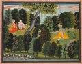 """India, Pahari Hills, Kangra school, Lambagraon series, 19th century - Sakhi Persuades Radha to Meet Krishna, from the """"Lambagraon"""" Gita Govinda ( - 1989.334 - Cleveland Museum of Art.tif"""
