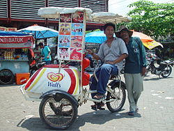 A bicycle-based ice cream vendor
