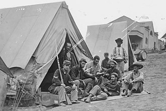 Camp Douglas (Chicago) - Members of the 71st New York Infantry at Camp Douglas, 1861