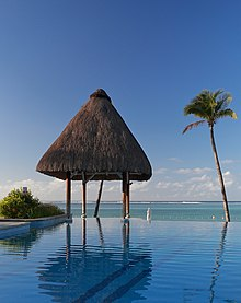 Infinity pool in a resort in Mauritius