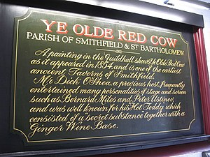 "Hot toddy - Information board highlighting the hot toddy at ""Ye Olde Red Cow pub"" in London"
