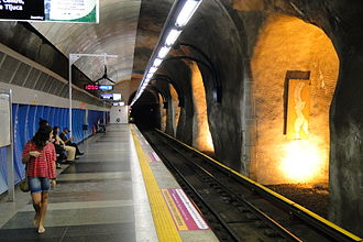 """Rio de Janeiro Metro - Cardeal Arcoverde Station (nicknamed """"Batcave"""") in Copacabana."""