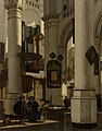 Interieur van een protestantse, gotische kerk, met een grafdelver in het koor Rijksmuseum SK-A-4054.jpeg
