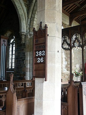 Hymn board - Image: Interior of St Nicholas, East Kirkby geograph.org.uk 431139