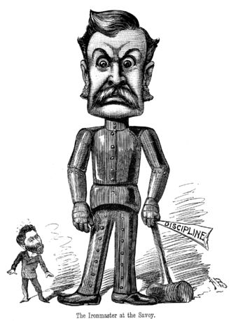 """The Ironmaster at the Savoy"" (1884): Gilbert with the mallet of discipline; Carte reacts Ironmaster of the Savoy.png"